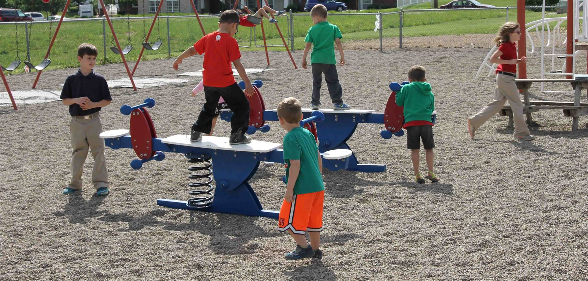 Students Playing on New Equipment