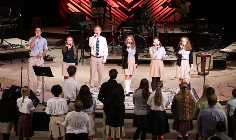 Chapel Band leading praise and worship