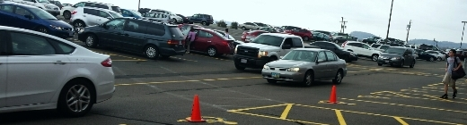 Traffic in the parking lot at FCA